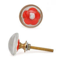 PotteryVille Red Flower with White Center Glass Knob
