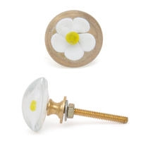 PotteryVille White Flower with Yellow Center Glass Knob