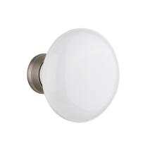 Nostalgic Warehouse White Porcelain Knobs Only Satin Nickel (SN)