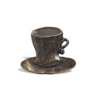 Emenee MK1053 Cup & Saucer Cabinet Knob in Antique Matte Brass (ABR)