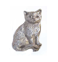 Emenee MK1092 Cat Cabinet Knob shown in Antique Matte Silver (AMS)
