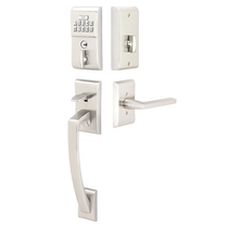 Emtek E4817 Modern Keypad Handleset with Helios Lever Satin Nickel