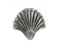 Emenee OR113 Seashell Fan Cabinet Knob shown in Antique Matte Silver (AMS)