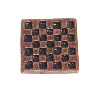Emenee OR138 Checkerboard Square Cabinet Knob shown in Antique Matte Copper -ACO