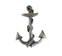 Emenee OR205 Anchor Cabinet Knob shown in Antique Matte Silver (AMS)