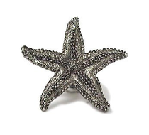 Emenee OR208 Starfish Cabinet Knob Antique Matte Silver (AMS)