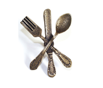Emenee OR251 Fork, Knife & Spoon Cabinet Knob shown in Antique Matte Brass (ABR)