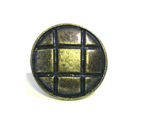 Emenee OR352 Square with Four Pyramids Cabinet Knob in Antique Matte Brass