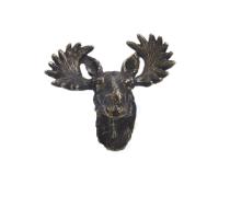 Emenee OR371 Moose Head Cabinet Knob in Antique Matte Brass (ABR)