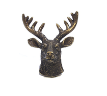 Emenee OR372 Elk Head Cabinet Knob in Antique Matte Brass (ABR)