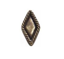 Emenee OR386 Rope Edge Diamond Cabinet Knob shown in Antique Matte Brass (ABR)