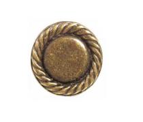 Emenee OR388 Rope Edge Round Cabinet Knob shown in Antique Matte Brass (ABR)