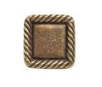 Emenee OR385 Rope Edge Square Cabinet Knob shown in Antique Matte Brass (ABR)