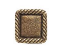 Emenee OR385 Rope Edge Square Cabinet Knob shown in Antique Matte Brass (ABR)