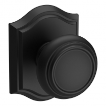 Baldwin Reserve Traditional Knob shown with Arch Rose in Satin Black (190)