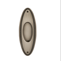 Nostalgic Warehouse Oval Beaded flush Pull Polished Brass (PB)