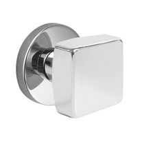 Emtek Square Door Knob Set with Disk Rosette Polished Chrome (US26)