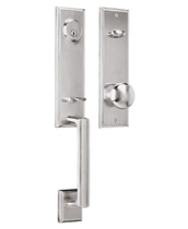 Weslock Woodward I with Impresa knob Satin Nickel