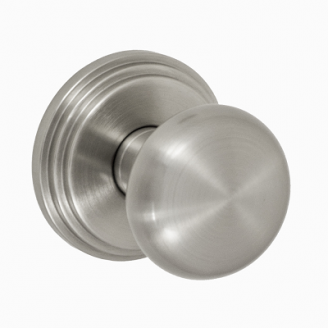 Fusion Contemporary Brass Half-Round Door Knob with Stepped Rose Brushed Nickel
