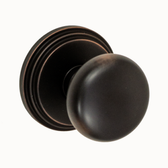 Fusion Contemporary Brass Half-Round Door Knob with Stepped Rose ORB