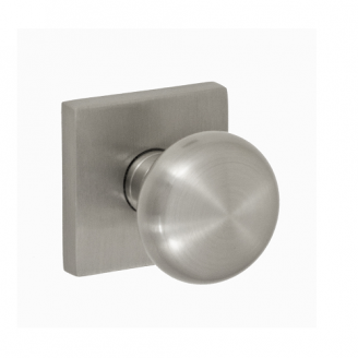 Fusion Contemporary Brass Half-Round Door Knob with Square Rose Brushed Nickel
