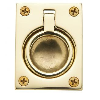 Baldwin 0394 Flush Ring Pull in Polished Brass (030)