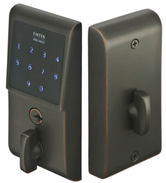 Emtek E3020 EMTouch Brass Keypad Deadbolt shown in Oil Rubbed Bronze (US10B)
