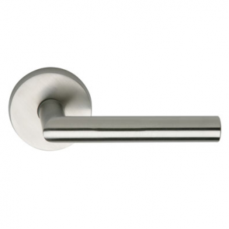 Omnia 12 Stainless Steel Door Lever Latchset Brushed Stainless Steel (US32D)