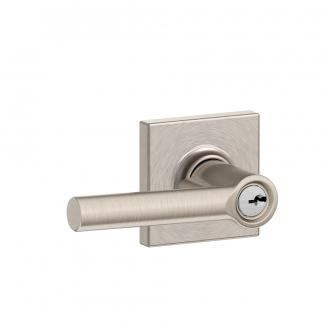 Schlage F51A-BRW-COl Broadway Keyed Entry Door Lever Set with Collins Rose