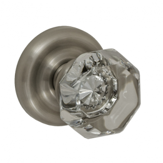 Fusion Victorian Clear Door Knob 16 with Contoured Radius Rose Brushed Nickel