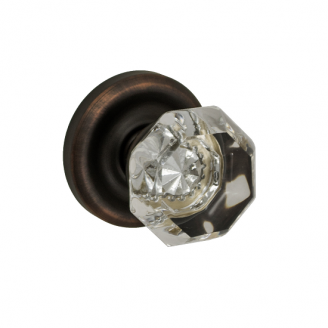 Fusion Victorian Clear Door Knob 16 with Contoured Radius Rose Oil Rubbed Bronze