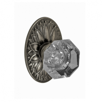 Fusion Bella Villa Victorian Clear Knob with Oval Floral Rose Antique Pewter