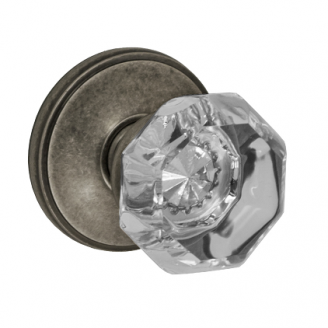 Fusion Victorian Clear Door Knob 16 with Cambridge Rose Antique Pewter