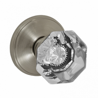 Fusion Victorian Clear Door Knob 16 with Cambridge Rose Brushed Nickel