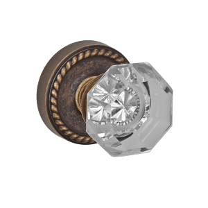 Fusion Elite Victorian Clear Glass Knob 16 with Rope Rose Medium Bronze