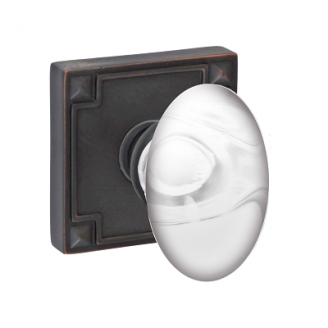 Fusion Decorative Glass Egg Door Knob 28 with Sonoma Rose Oil Rubbed Bronze