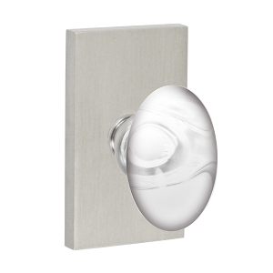 Fusion Clear Glass Egg Knob with Rectangular Rose Brushed Nickel