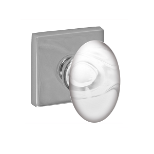Fusion Clear Glass Egg Knob with Square Rose Polished Chrome