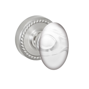 Fusion Elite Clear Glass Egg Door Knob with Rope Rose Brushed Nickel