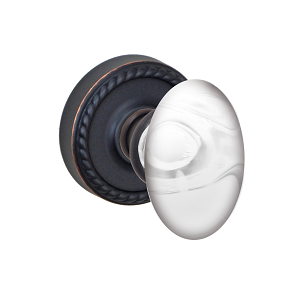 Fusion Elite Clear Glass Egg Door Knob with Rope Rose Oil Rubbed Bronze
