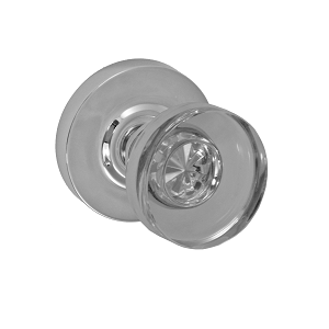Fusion 40 Glass Disk Knob with Contemporary Rose Polished Nickel