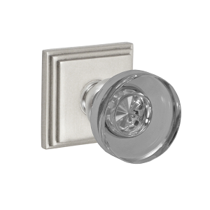 Fusion 40 Glass Disk Knob with Square Stepped Rose Brushed Nickel