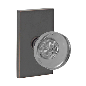 Fusion 40 Glass Disk Knob with Rectangular Rose Oil Rubbed Bronze