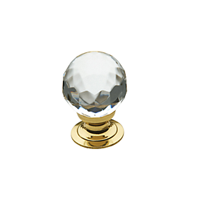Baldwin Crystal Cabinet Knob (4317, 4318, 4319) shown in Polished Brass (030)