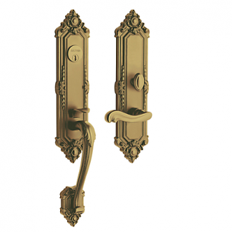 Baldwin Estate 6526 Kensington Mortise Handleset Satin Brass and Black (050)