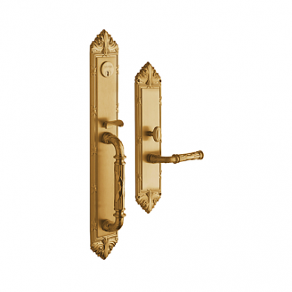 Baldwin Estate 6952 Edinburgh Full Plate Mortise Handleset in vintage Brass