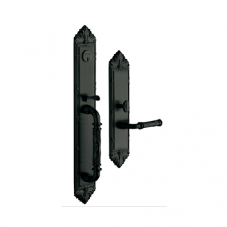 Baldwin Estate 6952 Edinburgh Full Plate Mortise Handleset in Satin Black (190)