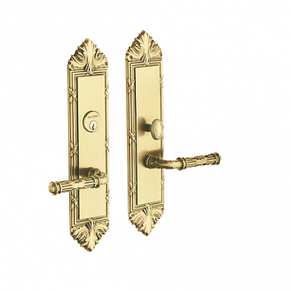 Baldwin Estate 6962 Fenwick Mortise Entrance Set in Satin Brass & Brown