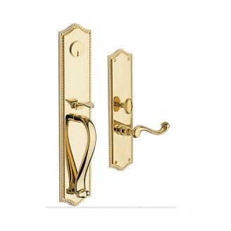 Baldwin Estate 6963 Bristol Full Plate Mortise Handleset Lifetime Polished Brass