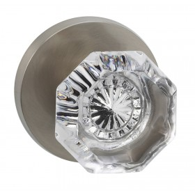 Omnia 955MD Glass Door Knob Set with Modern Rose
